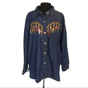 Bob Mackie Women's Southwestern Denim Top